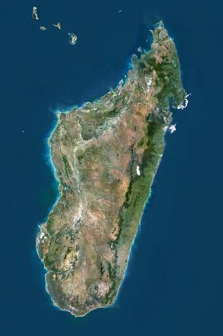 Madagascar, True Colour Satellite Image with Border Stretched Canvas Print