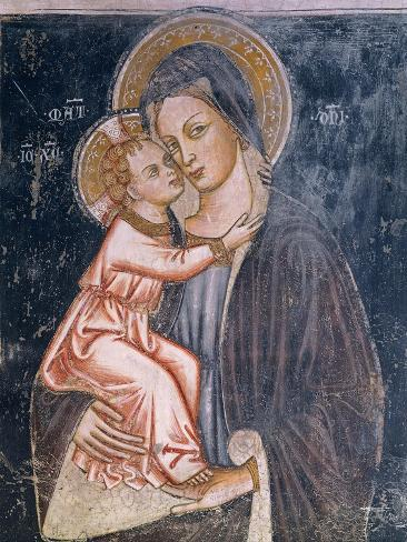 Madonna and Child, Detail of Fresco Depicting Stories of Virgin, 1416-1443 Lámina giclée