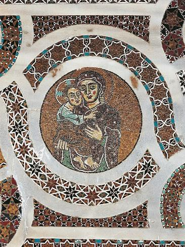 Madonna and Child, Detail of Mosaic Slab, Right Side of Pulpit of Ravello Cathedral Lámina giclée