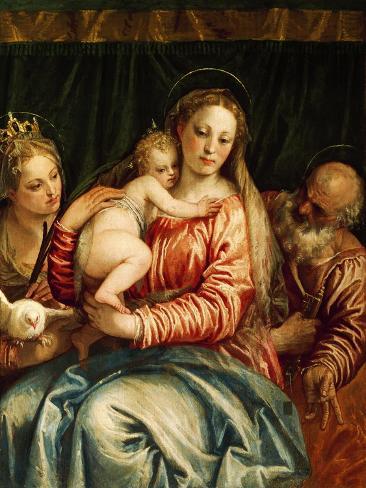 Madonna and Child, Saint and St Peter Lámina giclée