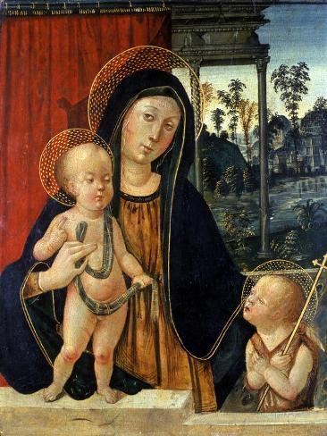 Madonna and Child with a Young John the Baptist, C.1500 Lámina giclée