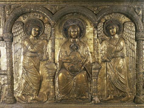 Madonna and Child with Archangels Michael and Gabriel Lámina giclée