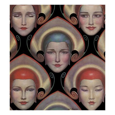 Magazine Illustration of Female Masks by W.T. Benda Stretched Canvas Print