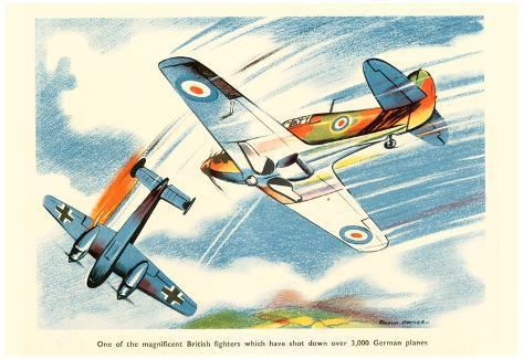 Magnificent British Fighters Have Shot Down Over 3000 German Planes WWII  War Propaganda Poster