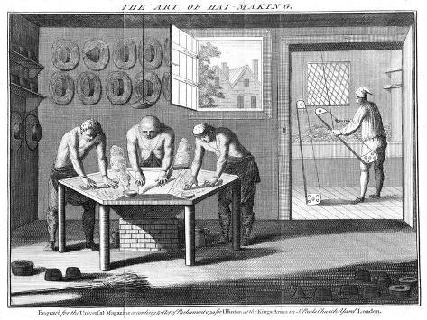 Making Beaver Hats, 1750 Giclee Print