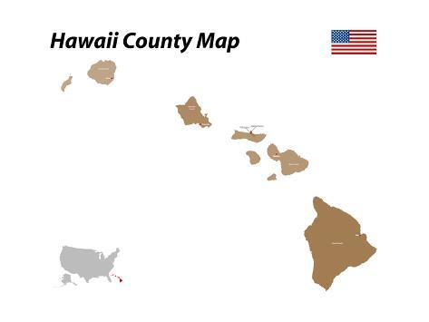 Honolulu County Map Art Print