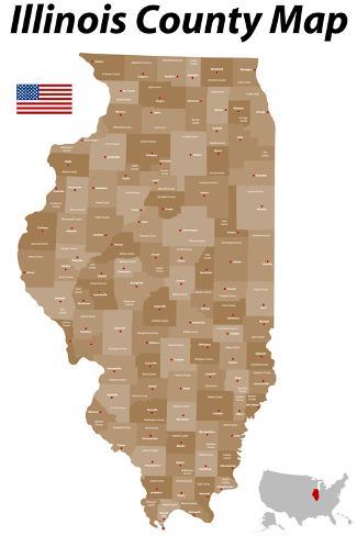 Illinois County Map Art Print