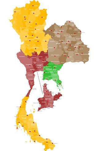 Map of Thailand Art Print