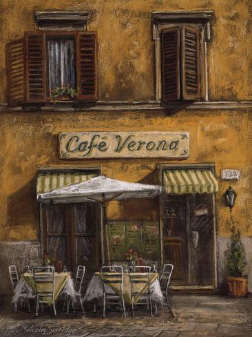Cafe Verona Stretched Canvas Print