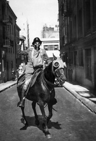 Man and Horse Wearing Gas Masks Archival Photo Poster Print Masterprint