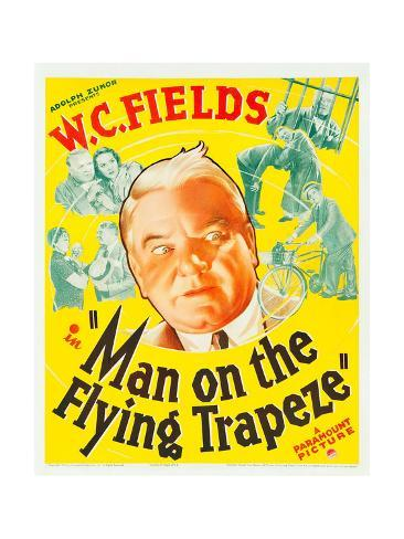 MAN ON THE FLYING TRAPEZE, W.C. Fields, Mary Brian on window card, 1935. Art Print