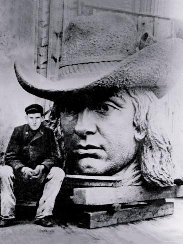 Man Posing with William Penn's Head, Philadelphia, Pennsylvania Photo