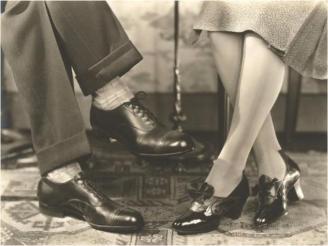 Man's and Woman's Feet and Shoes Art Print