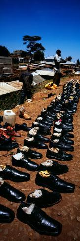 Man Selling Shoes in a Shanty Town, Kibera, Nairobi, Kenya Stretched Canvas Print