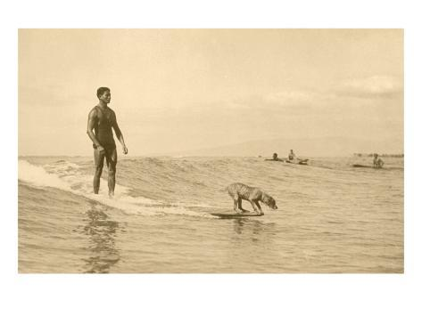 Man Surfing with Dog Art Print
