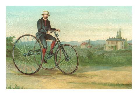 Man with Large Tricycle Art Print
