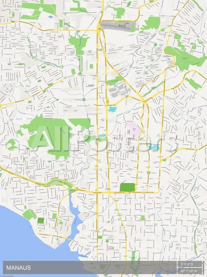 Manaus, Brazil Map Prints at AllPosters.com