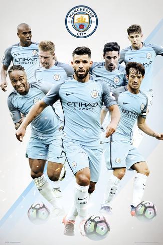 オールポスターズの manchester city team アートポスター