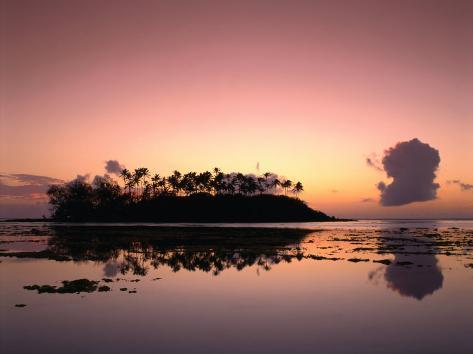 Dawn Sky Over Motu Taakoka, Mirrored in Waters of Muri Lagoon, Muri, Cook Islands Photographic Print