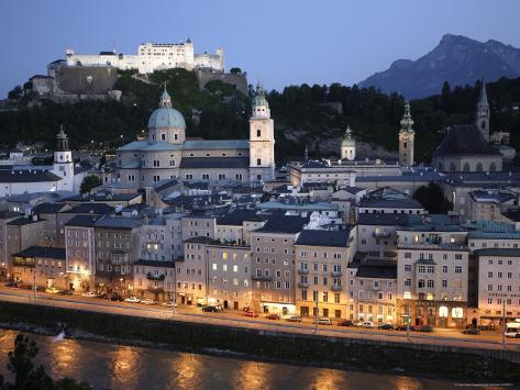 Overhead of Altstadt, with Salzach River and Hohensalzburg Fortress Photographic Print