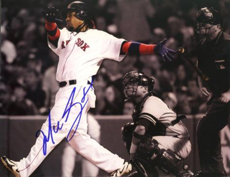 Manny Ramirez Sepia Tone Home Run vs. Yankees Autographed Photo (Hand Signed Collectable) Photo