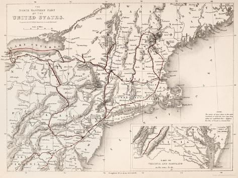 Map: Northeast U.S.A Giclee Print