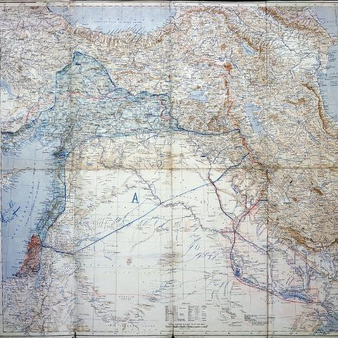 Map Of 1910 Showing The Sykes Picot Agreement Of 1916 Giclee Print