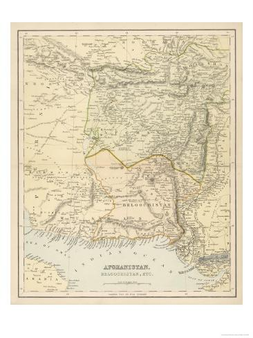 Map of Afghanistan and Beluchistan Giclee Print