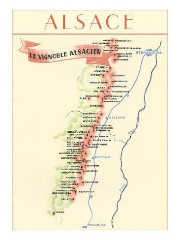 Map of Alsace Region Wine Country Poster AllPosterscouk