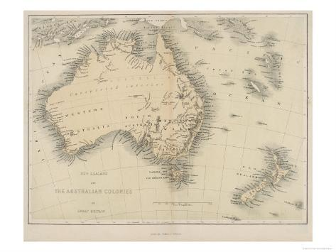 Map of Australia and New Zealand Giclee Print