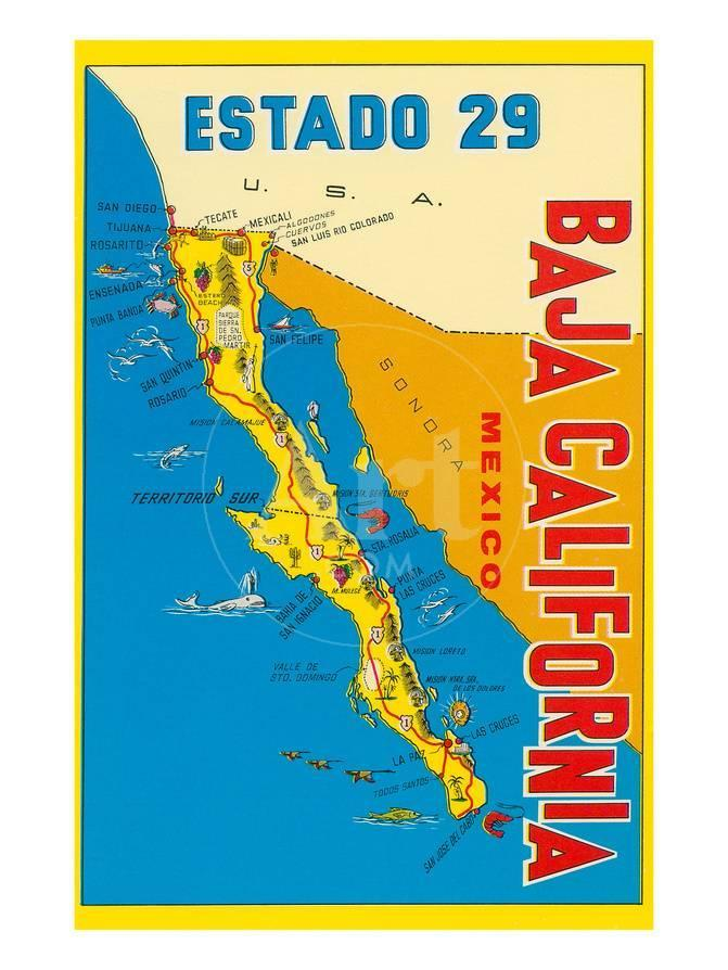 Map of Baja California, Mexico Posters - by AllPosters.ie