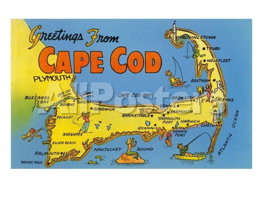 Map of Cape Cod Massachusetts Prints at AllPosterscom