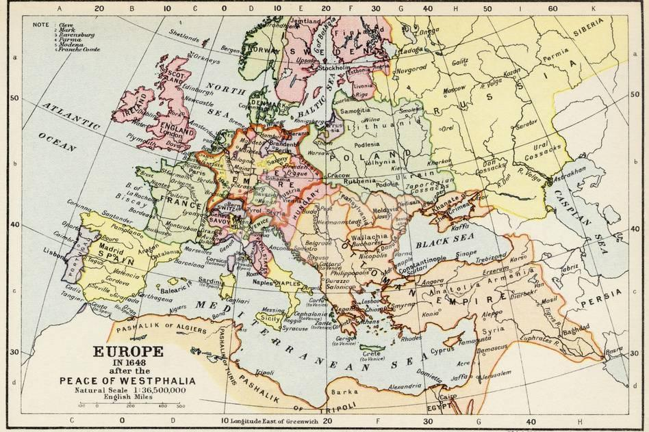 Map of Europe in 1648 after the Peace of Westphalia Giclee Print at ...