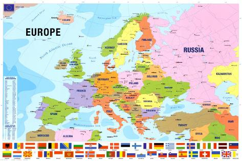 Map Of Europe. Print