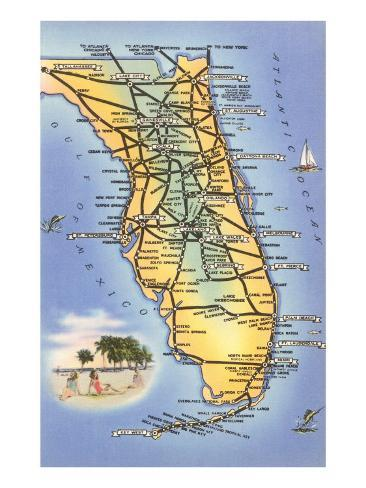 Map of Florida Art Print