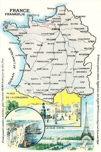 Limoges France Map.Map Of France Prints At Allposters Com