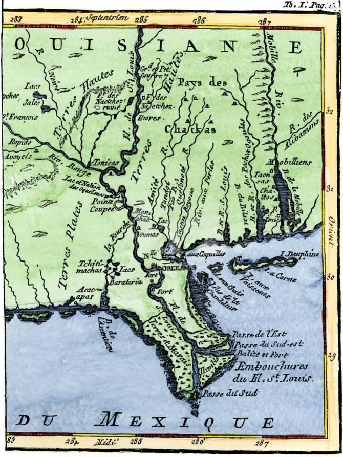 Map Of Louisiana 1744 Showing The Mouths Of The Mississippi River