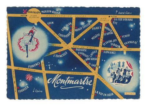 Map of Montmartre, Paris Art Print