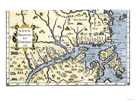 Map of New France and Canada, c.1597 Giclee Print