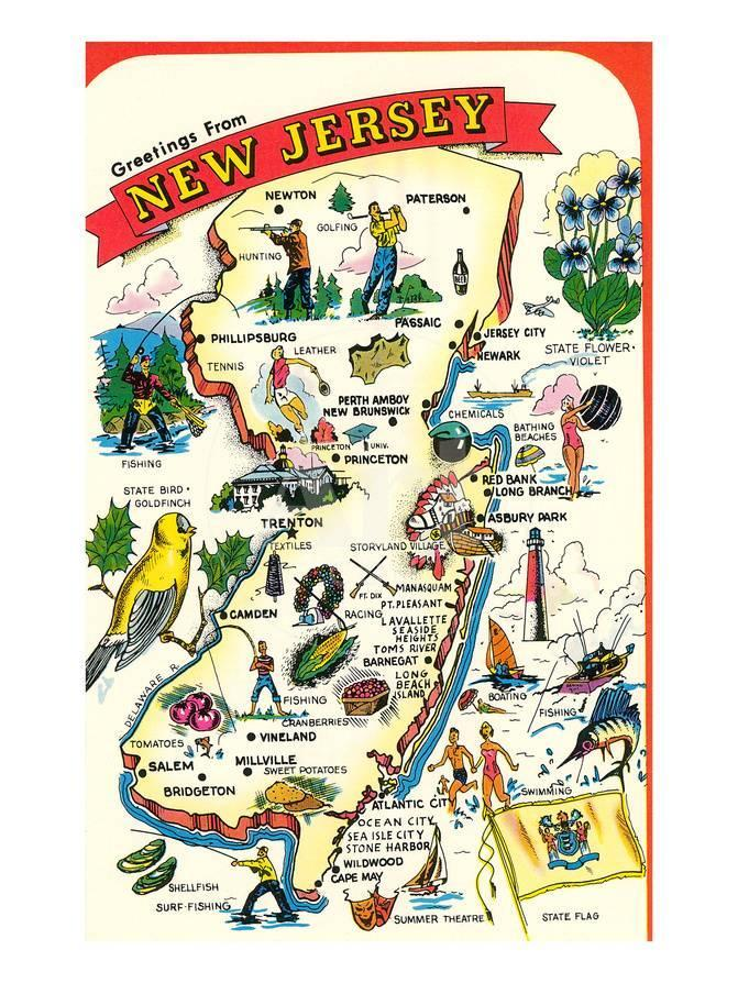 Map of New Jersey with Attractions Posters at AllPosters.com