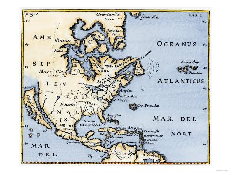 Map of North America, 17th Century Giclee Print at AllPosters.com