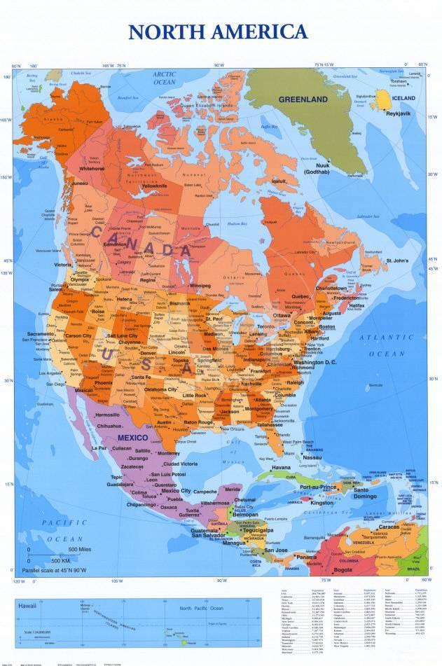 オールポスターズの map of north america 高画質プリント