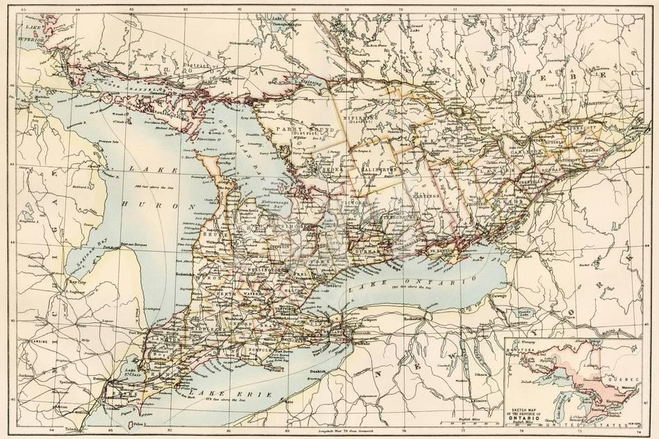 Map Of Ontario Canada 1870s Giclee Print At Allposters Com