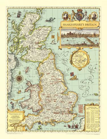 Map of Shakespeare's Britain Poster