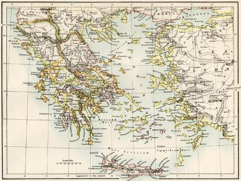 Map of the Aegean Sea in the Time of Ancient Greece Giclee Print