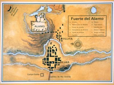 Map of the Alamo Area in San Antonio Based on Santa Anna's ...