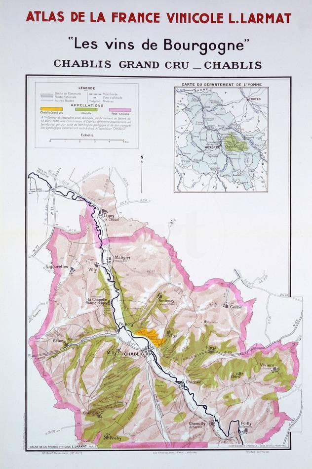 Chablis France Map.Map Of The Burgundy Vineyards Giclee Print At Allposters Com