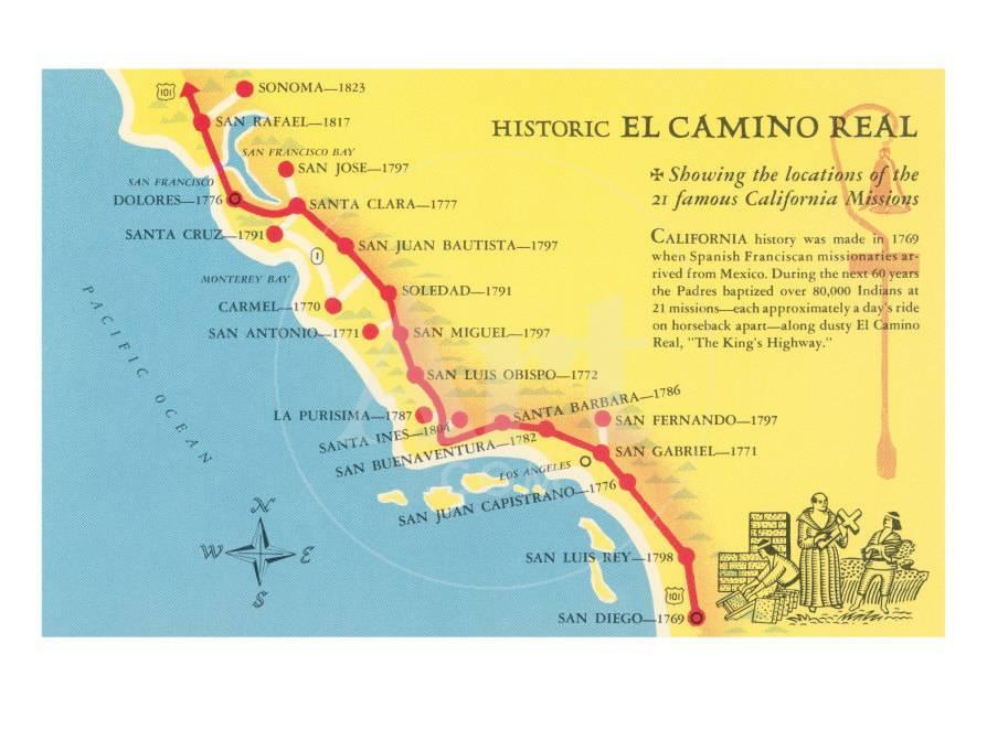 Map Of California Missions Locations.Map Of The Camino Real California Missions