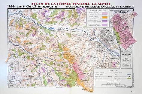 Map of the Champagne Region Montagne De Reims and Ardre Valley