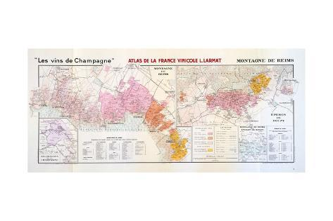Map of the Champagne Region: Montagne De Reims Giclee Print ...